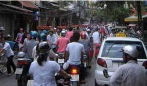 Crowded Hanoi street