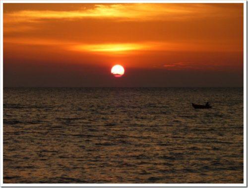 Fisherman at sunset near Malacca
