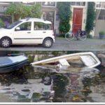 Sunken boat in Amsterdam