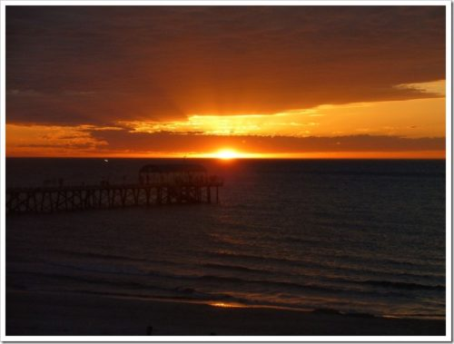 Sunset over the pier at Henley Beach