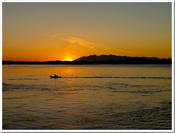 Fisherman at sunset on Tofino