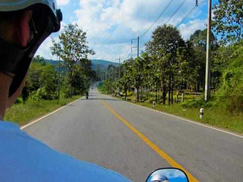 View over the shoulder, scooter to Pai
