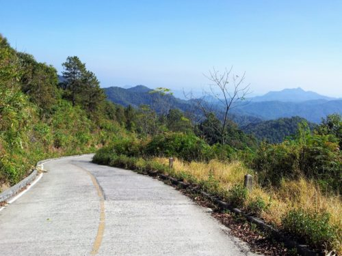 Nothern Thailand scooter trip - empty mountain road