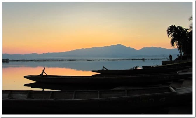 Phayao lake at sunset