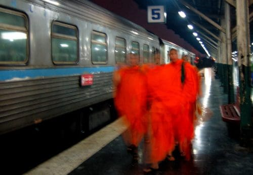 Monks at the train station