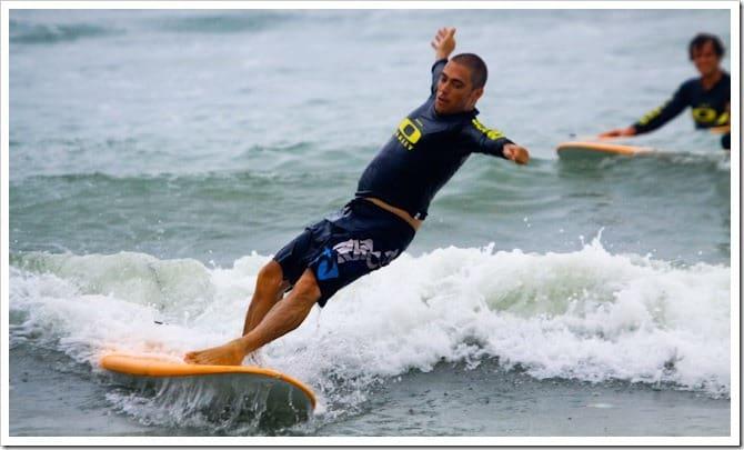 Falling off surfboard in Bali