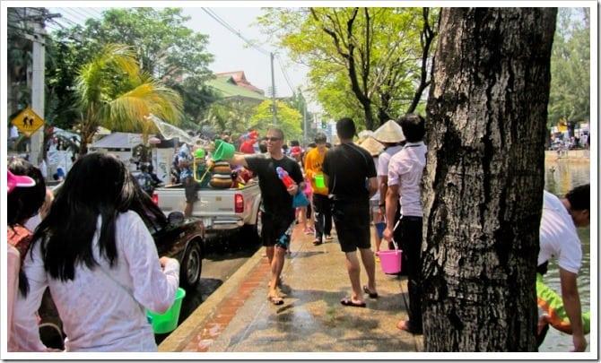 Dave throwing water at Songkran