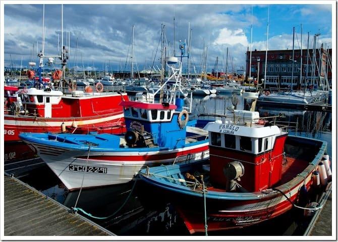 Fishing boats in the harbour, La Coruna