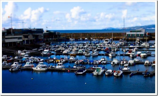 Tilt-shift boats in the harbour, La Coruna