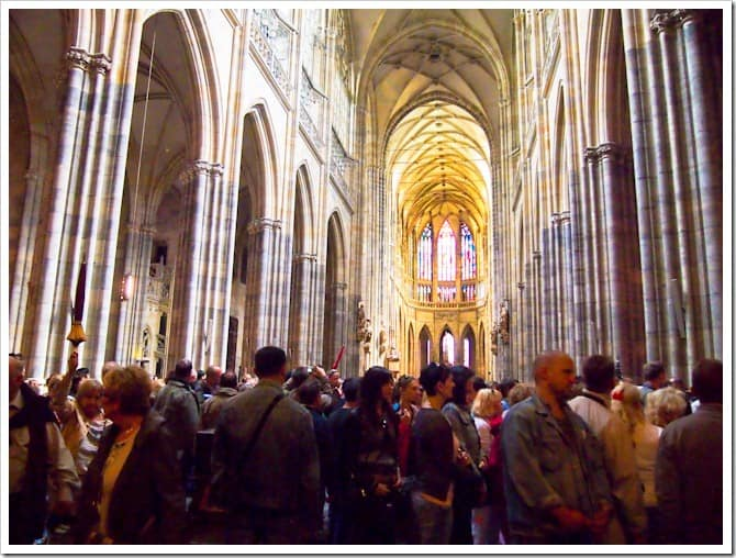 Crowds in the cathedral, Prague