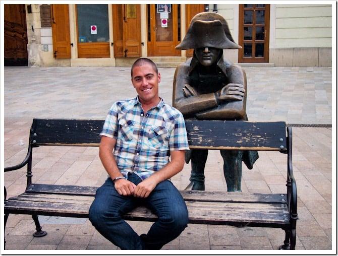 Dave and statue, Bratislava