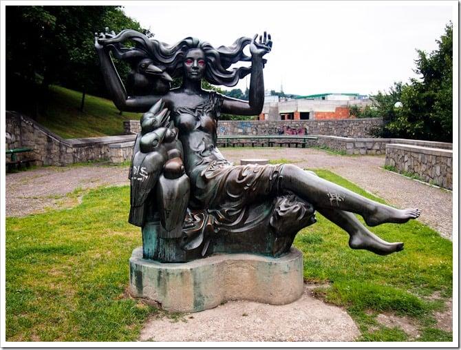 Flowing hair statue, Bratislava