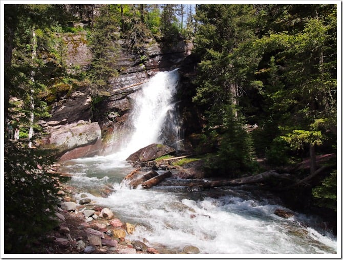 Mountain stream and waterfall, Glacier National Park