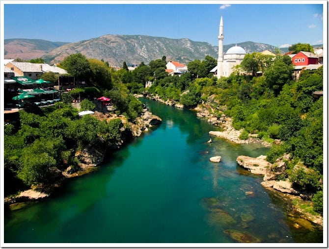 Mostar river and mosque