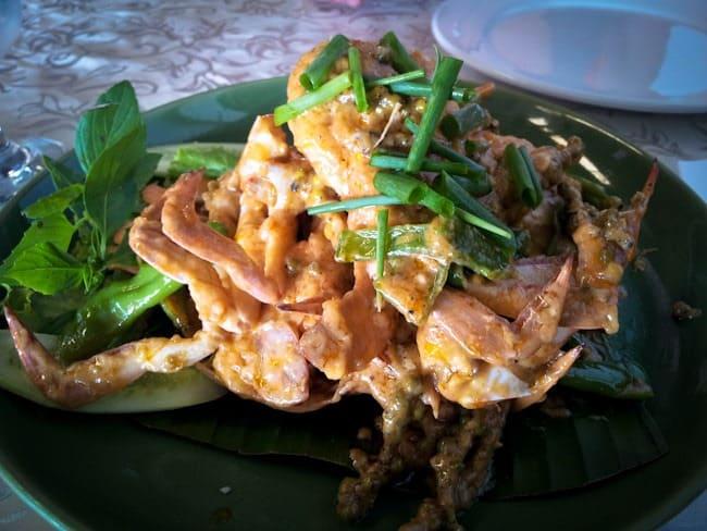Crab in green pepper sauce
