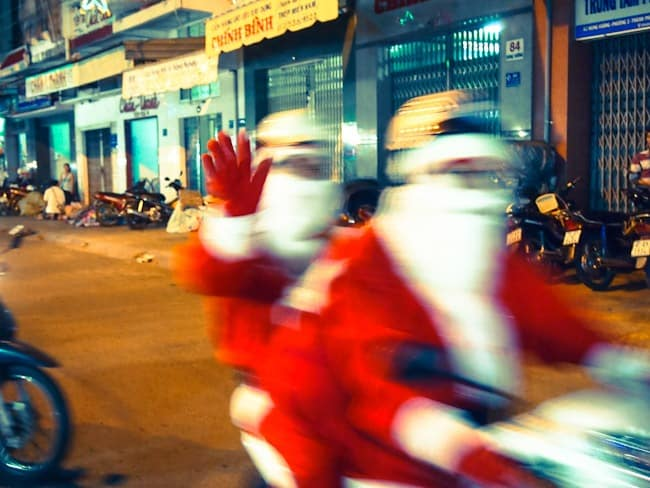 Father Xmas on scooters