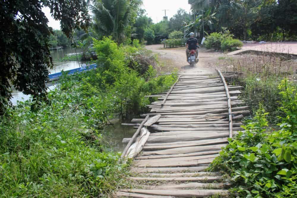 Rickety bridge, Mekong Delta