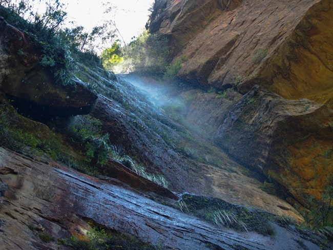 Blue Mountains - Looking up at a waterfall