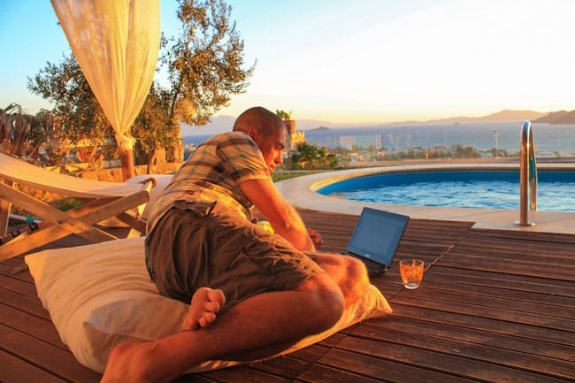 Working beside the pool, Turkey