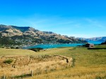 Akaroa view with sculptures