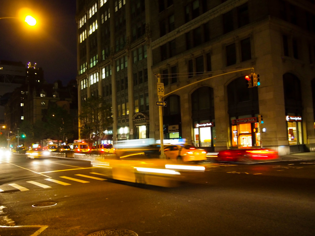 New York taxis at night