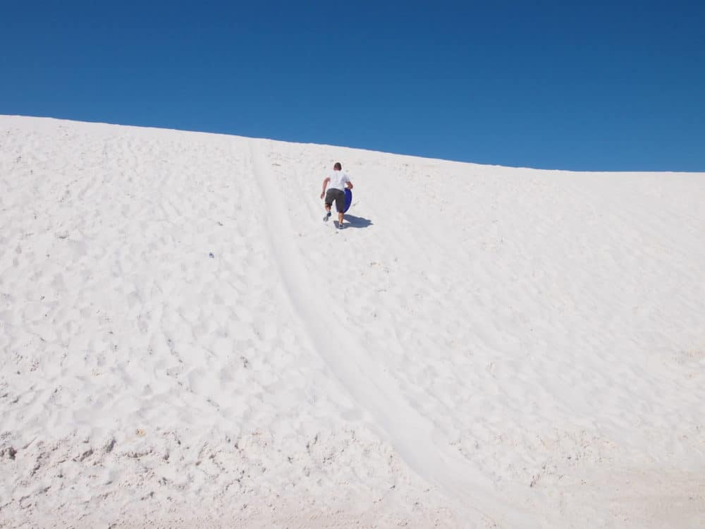 White Sands - climbing up