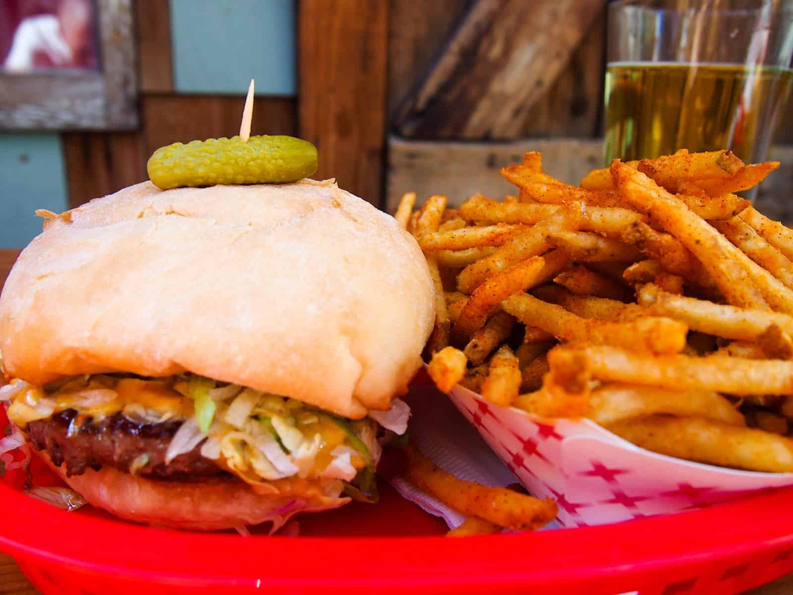 Cheeseburger, fries and cider at Bar Bar