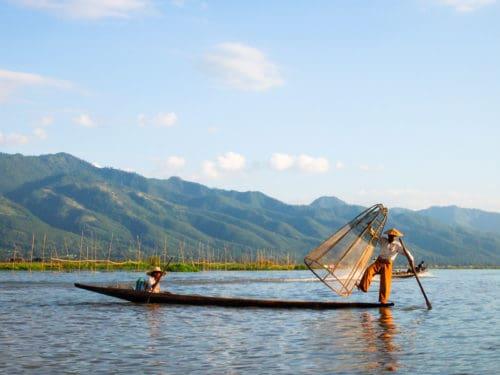 Dancing fisherman on Inle Lake