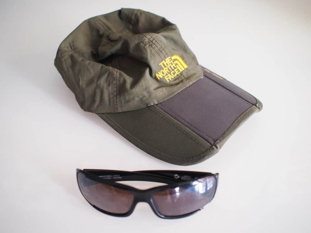Camino cap and sunglasses