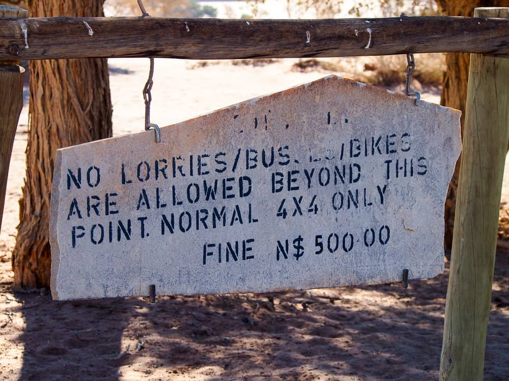 Sign in Sossusvlei
