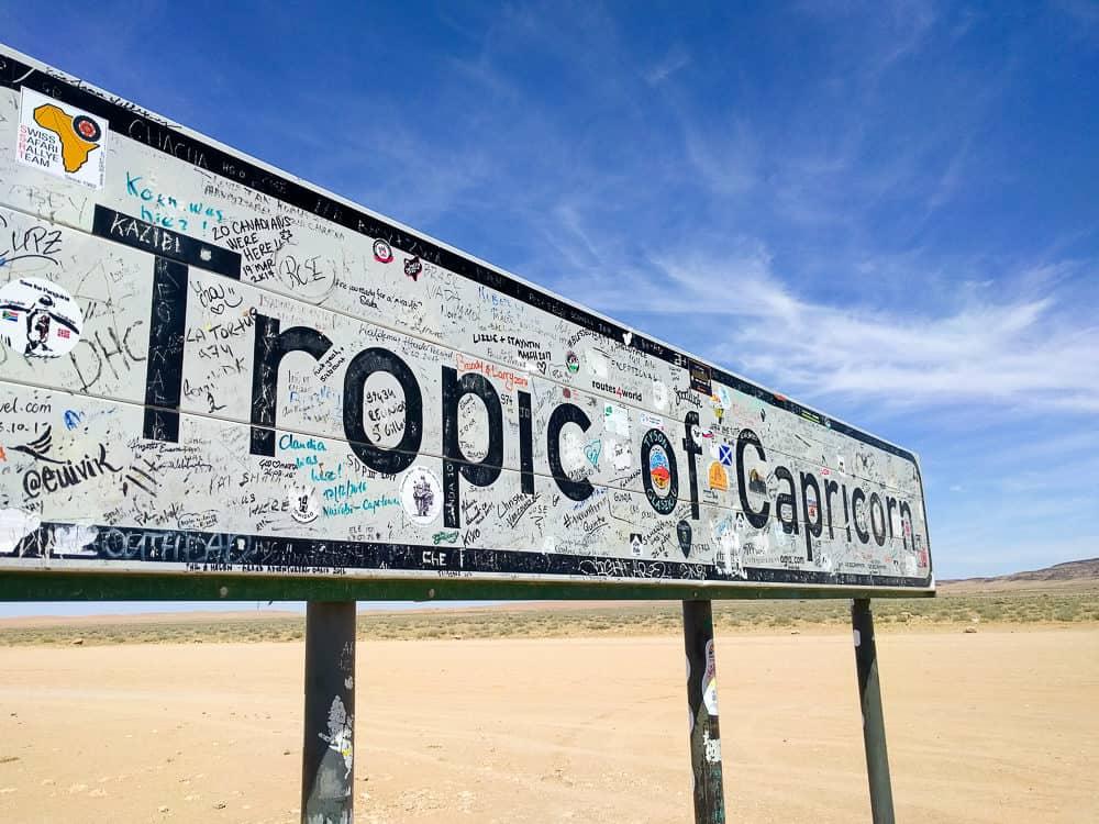 Tropic of Capricorn sign, Namibia