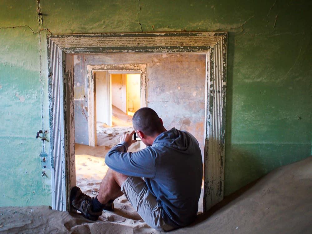 Taking photo at Kolmanskop