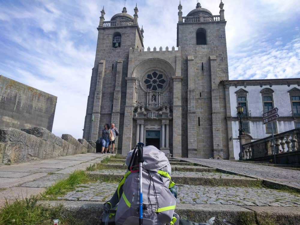 Backpack outside Porto Cathedral