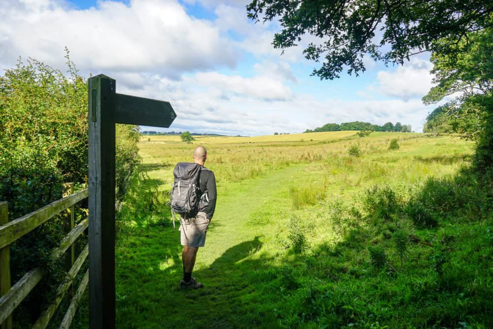 Dave with backpack, Hadrian's Wall Trail