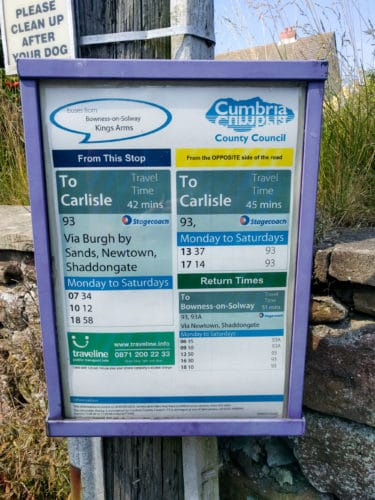 Hadrian's Wall Trail, Bowness to Carlisle bus timetable