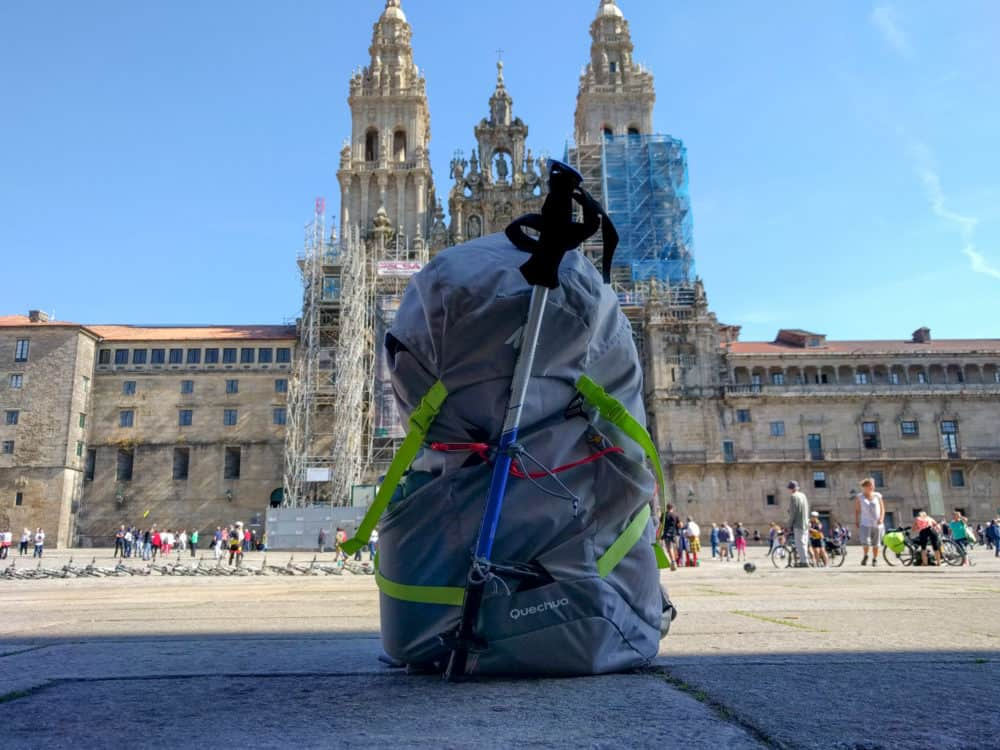 Cathedral and backpack, Camino Portuguese