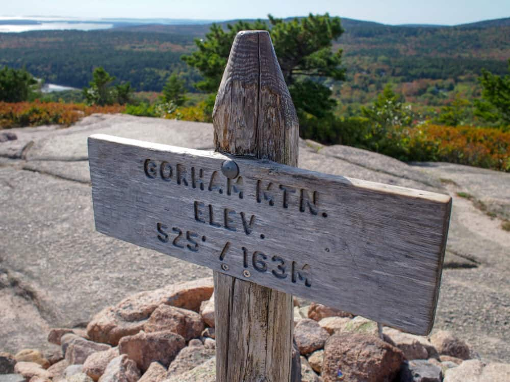 Gorham Mountain summit sign