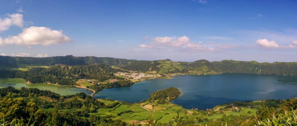 Panorama of Sete Cidades lagoons