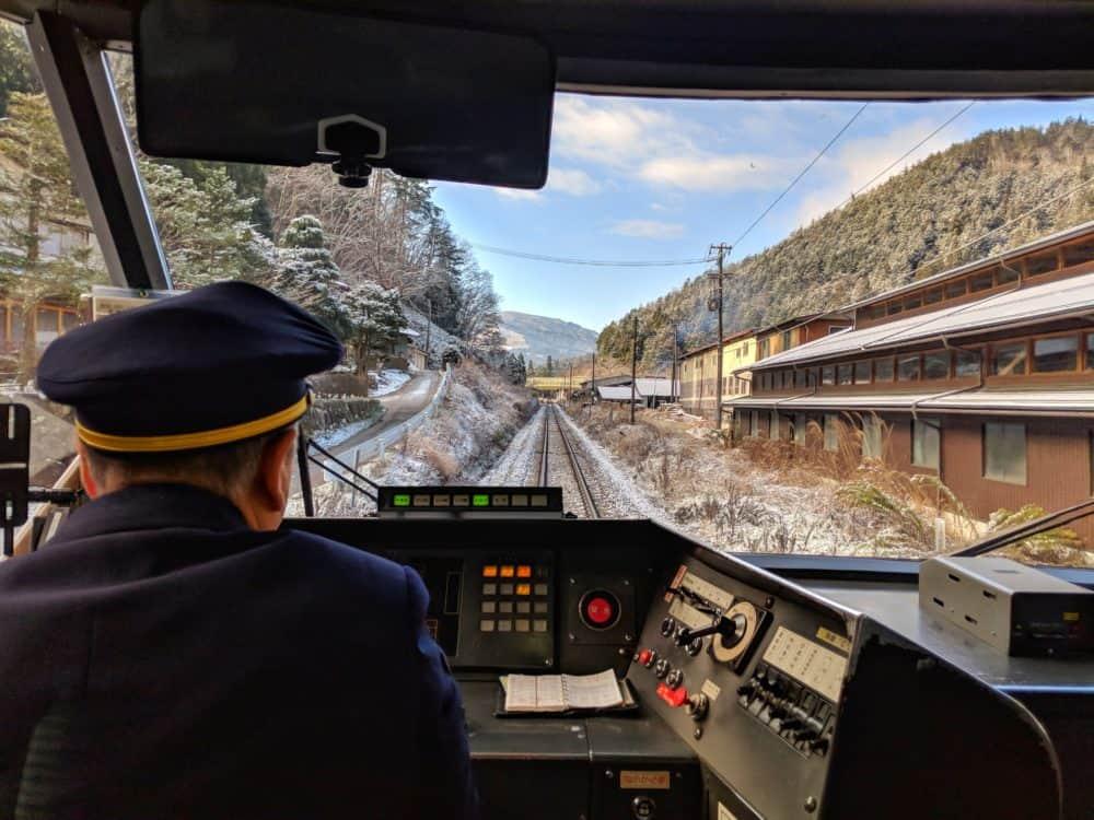 Snowy train view