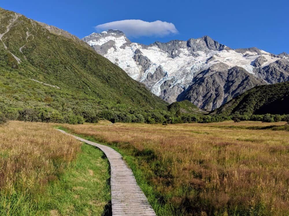 Boardwalk to Mueller Hut route