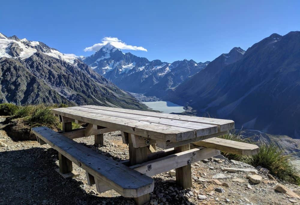 Picnic table, Mueller Hut