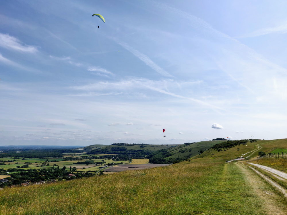 South Downs Way, paragliders near Devil's Dyke