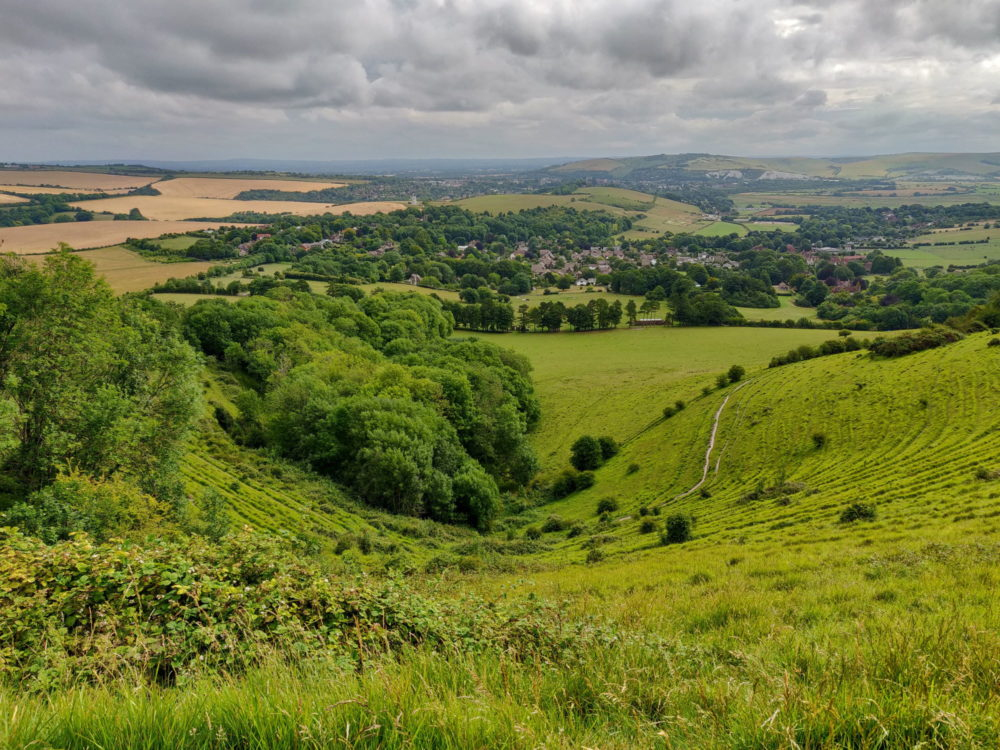 South Downs Way, view down toward Kingston-near-Lewes