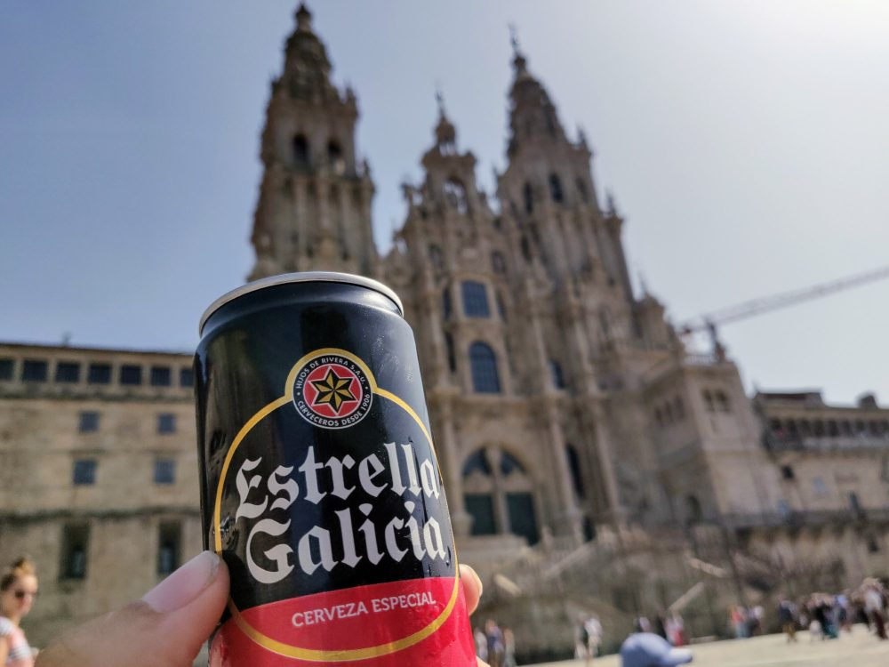 Beer outside the cathedral, Santiago